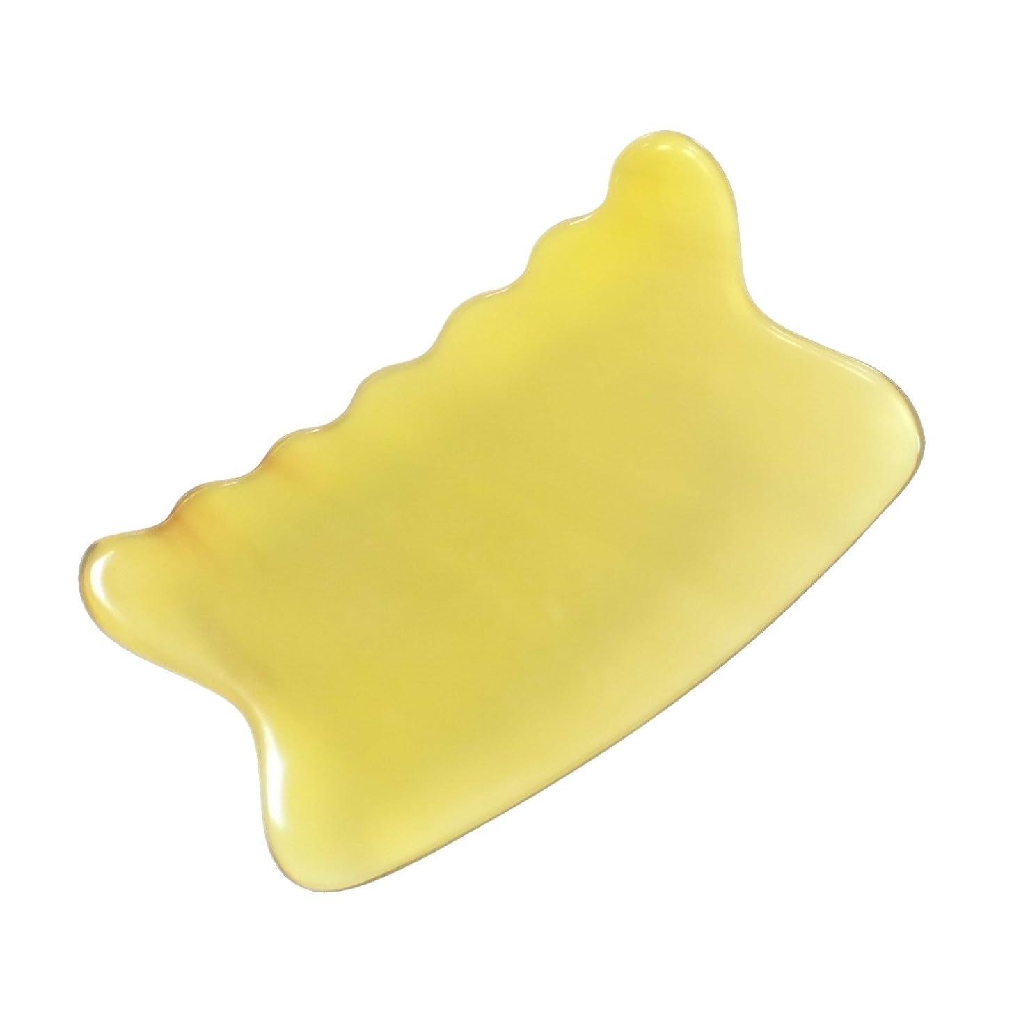 絶え間ない水没お尻かっさ プレート 希少63 黄水牛角 極美品 曲波型
