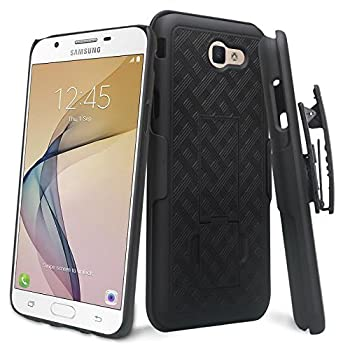 Zase Case for Samsung J7V Case Galaxy J7 Prime J7 Perx J7 Sky Pro Tough Holster Rugged Slim Protective Case Defender Armor Swivel Belt Clip [Kickstand] Galaxy J7  2017   Black Holster Combo Case