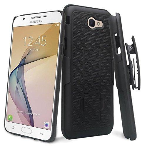 ZASE Case for Samsung J7V Case, Galaxy J7 Prime, J7 Perx, J7 Sky Pro Tough Rugged Holster Armor Slim Protective Case Defender Swivel Belt Clip [Kickstand] Galaxy J7 (2017) (Black Holster Combo Case)