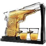 Pistol Gun Whiskey Decanter Bottle with Bullet Shot glasses. Liquor Decanter set for Vodka, Scotch, Bourbon