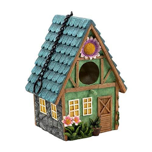 Fenteer Hanging Bird House Bird Feeder for the Garden, Novelty Bird Nesting Box Garden Decorations, Bird Hotel Cabin for Wild Birds