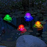 pearlstar Solar Pool Pond Lights Floating Waterproof Solar Color Changing Lights Outdoor Led Pond Swimming Pool Lighting Decoration Lamp 4 Pack