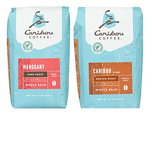 Caribou Whole Bean Coffee Variety Pack with Mahogany Dark Roast and Caribou Blend Medium Roast. Convenient One-Stop Shopping. Easy to Source this Ultra Popular Product. An Aromatic Coffee Paradise!