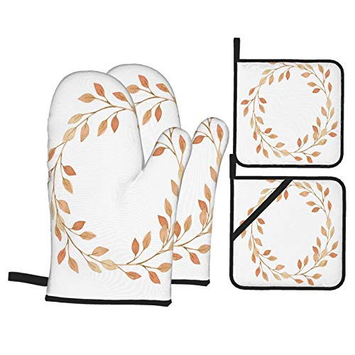 Dfform Oven Mitts and Pot holders 4pcs Set,Hand Drawn Watercolor Illustration Wreath Fall Heat Resistant Cooking Gloves for Kitchen,Baking,Grilling