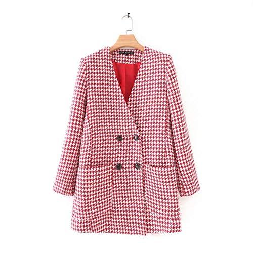 DSJ Women dubbele rij rode geruit blazer met V-hals