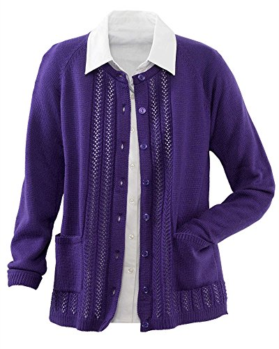 National Classic Cardigan Sweater, Amethyst, Petite Medium
