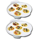 TAMUME 6-Hole Ceramic Snail Dish and White Porcelain Snail Plate with Easy-to-Hold Handle, Set of 2 (White Flat *2)