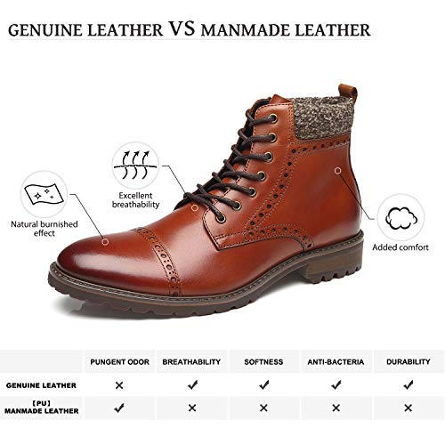 La Milano Men's Leather Cap Toe Lace Up Winter Casual Dress Boot Classic Comfortable Dress Shoes for Men