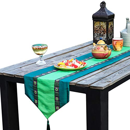 Generico Ethnic Style Cotton And Linen Table Runner, Dark Green Patchwork Embroidery, Living Room Coffee Table Tv Cabinet Cover Cloth, Farmhouse Table Decoration 34x100cm