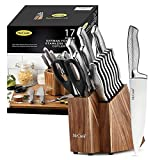 McCook MC20 Premium Knife Sets,17 Pieces Full Tang Hammered German Stainless Steel Kitchen Knife Set with 8 Pieces Steak Knives and Acacia Block
