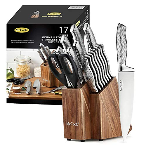 McCook MC20 Premium Knife Sets,17 Pieces Full Tang Hammered German Stainless Steel Kitchen Knife Set...