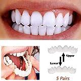 XHH 5 Paar Reparatur Bleaching Zähne einstellen Dental Pflege Furnier Simulation Hosenträger Temporär Reparatur Fehlt Zähne Silikon Analog Kieferorthopädische Gerät