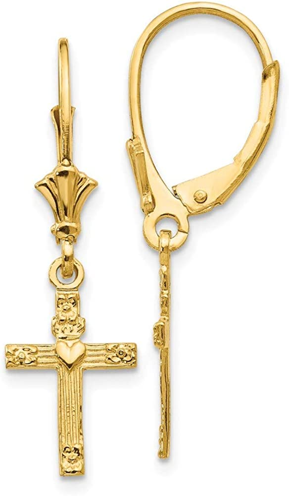 14k Yellow Gold Mini Cross Religious Heart Leverback Earrings Lever Back Drop Dangle Fine Jewelry For Women Gifts For Her