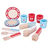 Bigjigs Toys Wooden Dinnerware Set - Pretend Play and Role Play For Children