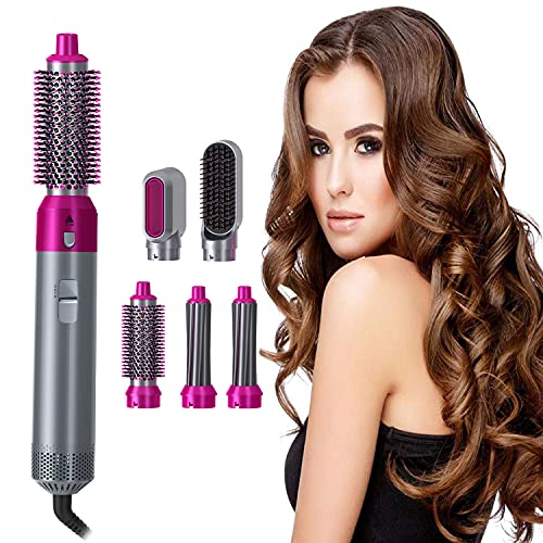 Hair curler set 5 in1 Multi Functional Curling straightening Hair Style Comb Straightener Electric air Curler Iron Comb
