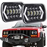 """7x6"""" inch Halo LED Headlights, OVOTOR 5x7 inch Square LED Headlamp with Arrow Angel Eyes DRL Turn Signal Light Replaces H6054 H5054 H6054LL 69822 Fit Trucks Jeep Wrangler XJ YJ Sedans GMC"""