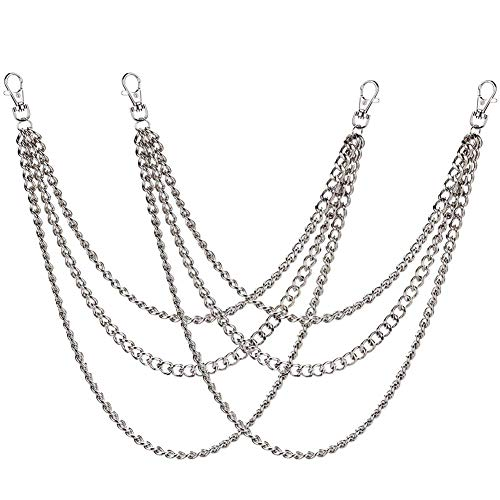 BESTZY Gliederkette, 2 Stück Metallkette Gliederkette mit Karabinerhaken Zubehör 45/52/65cm für Hut Kostüm Dekoration (Silber)