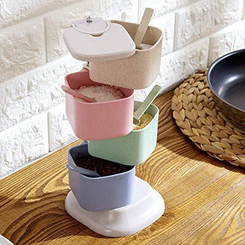 FGHSD Gezonde tarwe stro, kruiden, peper, shaker, multifunctioneel, suiker, kruidendoos, roterende doos, keuken, BBQ tool, kleurrijk 1 set