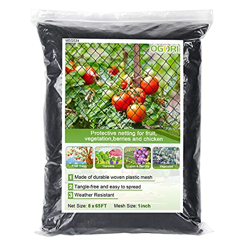 OGORI 8 x 65 ft Bird Netting Garden Netting Heavy Duty Woven Mesh - Protect Plants Fruits Trees Flowers and Poultry