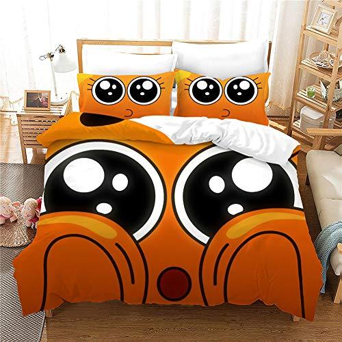 GD-SJK The Amazing World of Gumball - Juego de ropa de cama infantil (1 funda nórdica + 2 fundas de almohada, para niños y jóvenes, 3 piezas (A01,155 x 220 cm)
