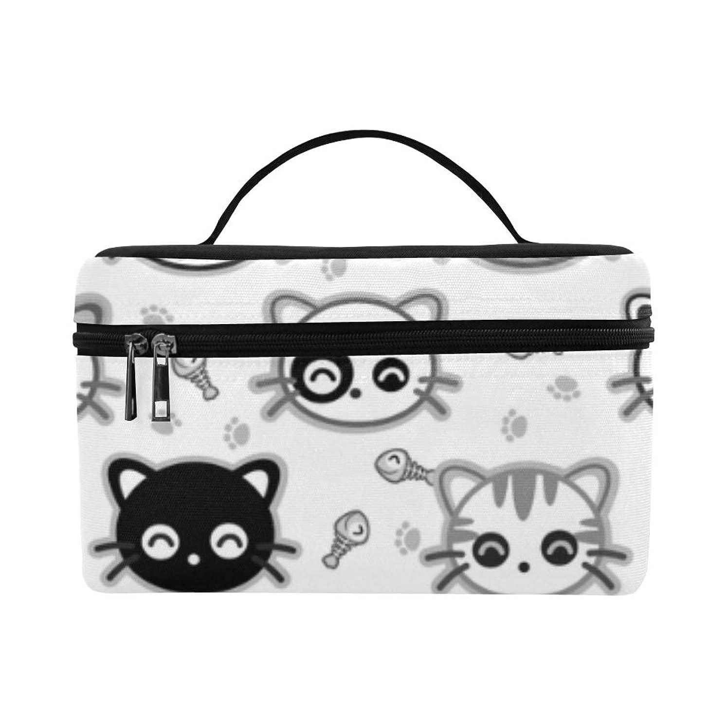 ヒギンズ幹膨らませるCKYHYC メイクボックス 面白い グレー猫 コスメ収納 化粧品収納ケース 大容量 収納ボックス 化粧品入れ 化粧バッグ 旅行用 メイクブラシバッグ 化粧箱 持ち運び便利 プロ用