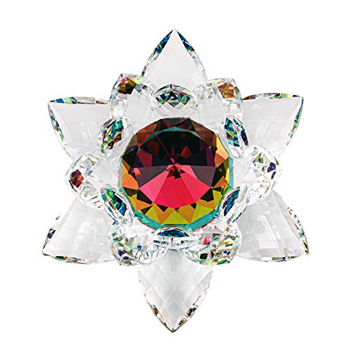 Amlong Crystal Hue Reflection Crystal Lotus Flower with Gift Box, Rainbow (5 Inch)