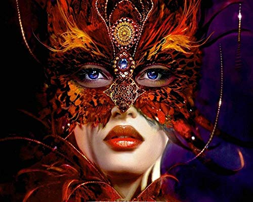 Schilderset met kwasten en acryl pigment, doe-het-zelf canvas schilderij voor volwassenen, red masker Queen – (40x50 cm) zonder frame.