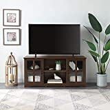 BELLEZE Cori 52 Inch TV Stand Wood and Glass Console for TVs Up to 60', Espresso