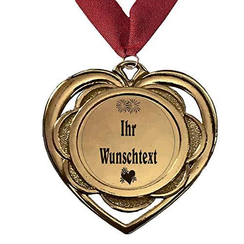 Larius Group Medaille Herzchen Ich Liebe Dich Mein Schatz BZW. Wunschtext Geburtstag Geschenk Orden aus Metall Herz inkl. Halsband (mit Wunschtext und Halsband)
