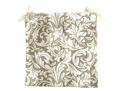 TIENDA EURASIA Pack de 4 Cojines para Sillas - Estampados Modernos - 2 Cintas de Sujeción - Ideal para Interiores y Exteriores - 40 x 40 x 3 cm (Flores)