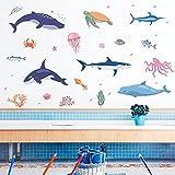 OUJINKUAJING Dibujos animados mundo submarino vida marina pegatinas de pared creativo bricolaje habitación infantil baño acuario decoración papel autoadhesivo