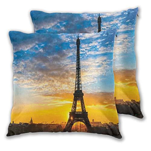 DECISAIYA Funda de Cojín Suave,Vista del Amanecer de la Torre Eiffel Ciudad Capital Monumento Famoso Destino de Viaje,Funda de Almohada Cuadrado para Sofá Cama Decoración para Hogar 45x45cm,Set de 2