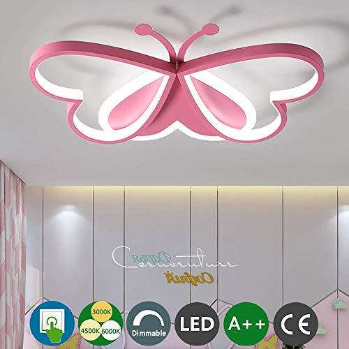 Moderne LED Plafondlamp Kids Kamer Plafond Lamp Jongen Meisje Slaapkamer Metaal Acryl Roze Vlinder Lamp Dimbare Schakelaar Kleuterschool Studie Kamer Interieur Decoratieve Plafond Luminaire, L60 cm ~ 45 w