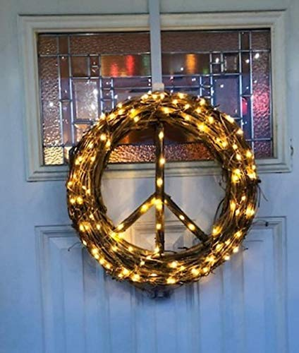 Battery Operated White Lighted Peace Sign Wreath