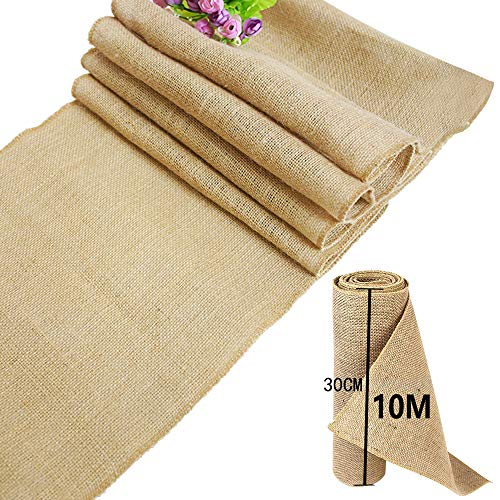 time to TtS 30cmx10M Rústica Yute Rollo Rodar Burlap Jute Natural decoración Boda
