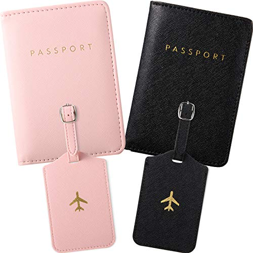 2 Pieces Passport Covers and 2 Pieces Luggage Tags, Passport Holder Travel Suitcase Tag (Black, Pink)