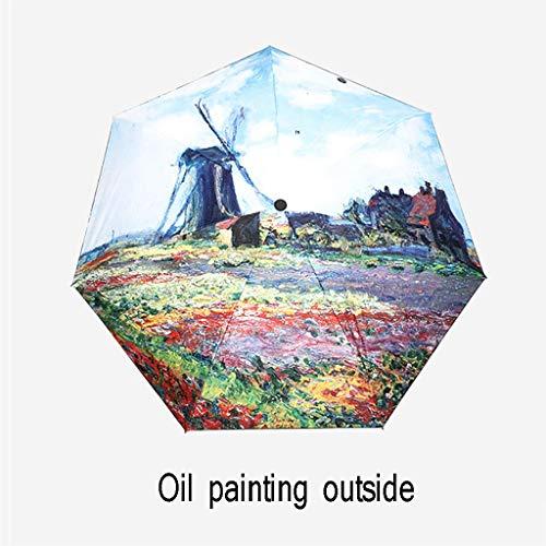 Vijf opvouwbare zak paraplu zon paraplu monet Tulp bloem olieverfschilderij paraplu uv-bescherming