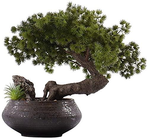 LLDKA Plantas Artificiales Bonsai Tree Fake Bonsai Artificial Bonsai Tree Beating Pine Bonsai Decoración de Piedra Modelo Modelo Pórche Micro Paisaje Verde Planta