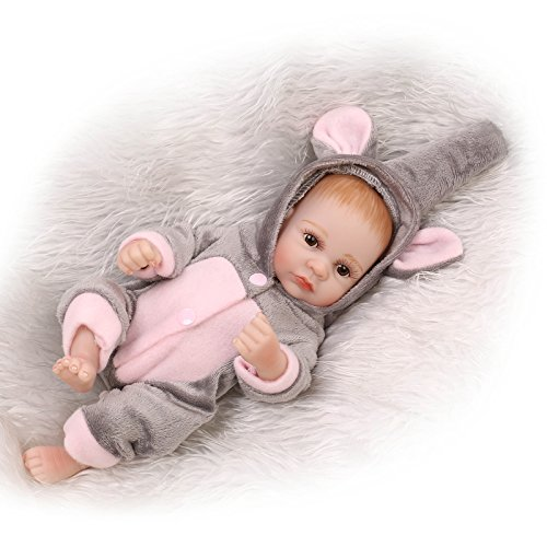 """NPK Reborn Baby Dolls Boy 10 """" Mini Full Silicone Vinyl Washable Realistic Handmade Gray Elephant Outfit Newborn Baby Gift Sets Toys for Ages 3+"""