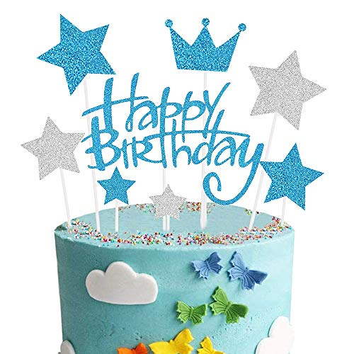 Happy Birthday Cake Topper, Azul Decoración para Tarta para Niñas Niños Mujeres Hombre Decoración de Pastel Cumpleaños, Estrella Corona Plateada Cupcake Topper Suministros de Purpurina para Fiestas