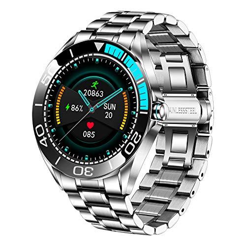 LIGE Smartwatch para Hombre, IP67 Impermeable Rastreador de Ejercicios Frecuencia Cardíaca Oxígeno en Sangre Monitor de Presión Arterial Pantalla Táctil Completa Reloj Inteligente(Azul Plateado)