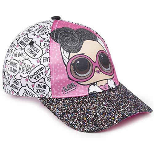 L.O.L. Surprise ! Mädchen Premium Baseball Baseballmütze | Kinder Sonnenhüte für den Sommer in Schwarz Rosa Blau Sparkly Glitter Einhorn Holographische Krempe (weiß mit Glitzer)