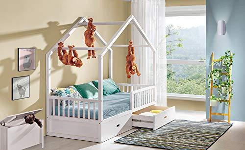 Viki Kinderbett Massivholz Hausbett weiss 200x90 mit 2 Schubladen