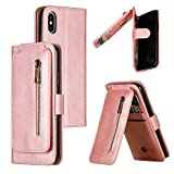 Nadoli Zipper Case for iPhone Xs Max 6.5',Unique Luxury 9 Card Slots Design Premium Pu Leather Magnetic Wrist Strap Wallet Flip Case Cover with Kickstand