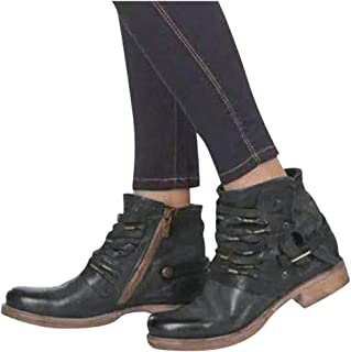Padaleks Women's Ankle Boots Low Heels Vintage Leather Flats Round Toe Buckle Strappy Shoes Western Knight Booties