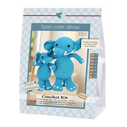 Go Handmade Sara 18cm & Simba 10cm The Elephants Crochet Needlework Kit, All Parts & Materials Included!