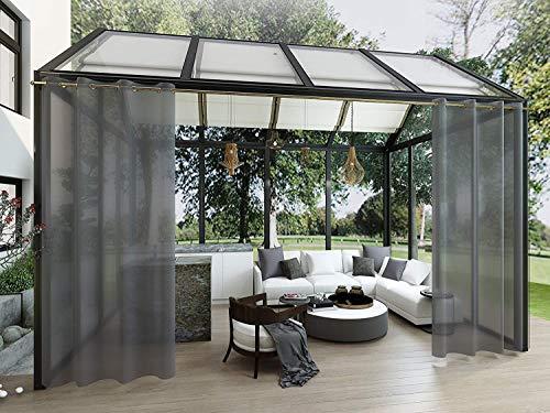 Clothink Outdoor Vorhänge mit Ösen 132x215cm (2 Stück) - Winddicht Wasserdicht Vorhänge Outdoor Gardinen, Mehltau beständig, für Gartenlauben Balkon, Strandhaus Vorhalle, Pergola, Cabana