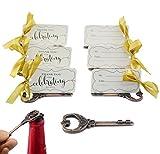 50 pz Multi Funzione Vintage Scheletro Chiave Apribottiglie Posto Titolari di Carta Per Matrimoni Tavolo Nome Carte Per Ospite Memoria (Rame Antico)