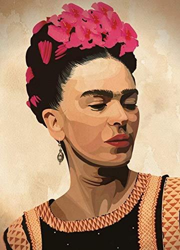 LSDEERE Pintura por números para adultos Frida Kahlo autorretrato digital al óleo, kit de pintura para adultos y niños, cumpleaños, bodas, alojamiento, decoración, regalos