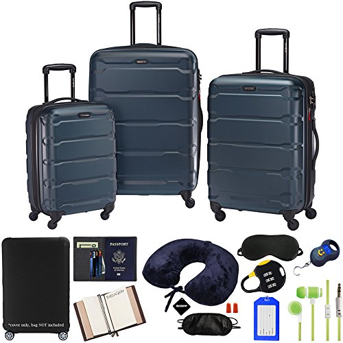 Samsonite 68311-2824 Omni Hardside Luggage Nested Spinner Set 20 Inch, 24 Inch, 28 Inch - Teal Bundle w/Deco Gear Luggage Accessory Kit (10 Item)